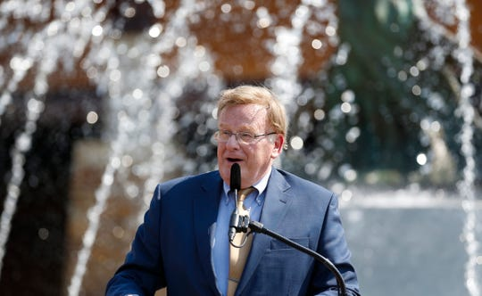 Springfield Mayor Ken McClure speaks during a celebration of Wonders of Wildlife one-year anniversary on Thursday, Sept. 20, 2018.