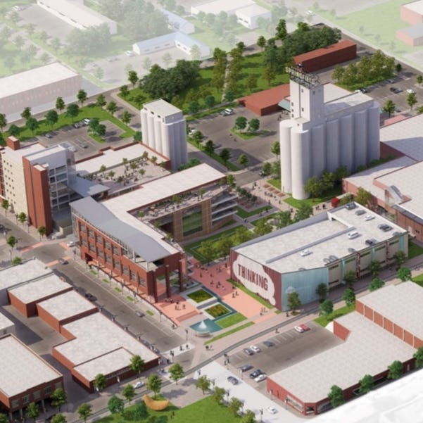A rendering shows what a new downtown development in the Idea Commons could look like.