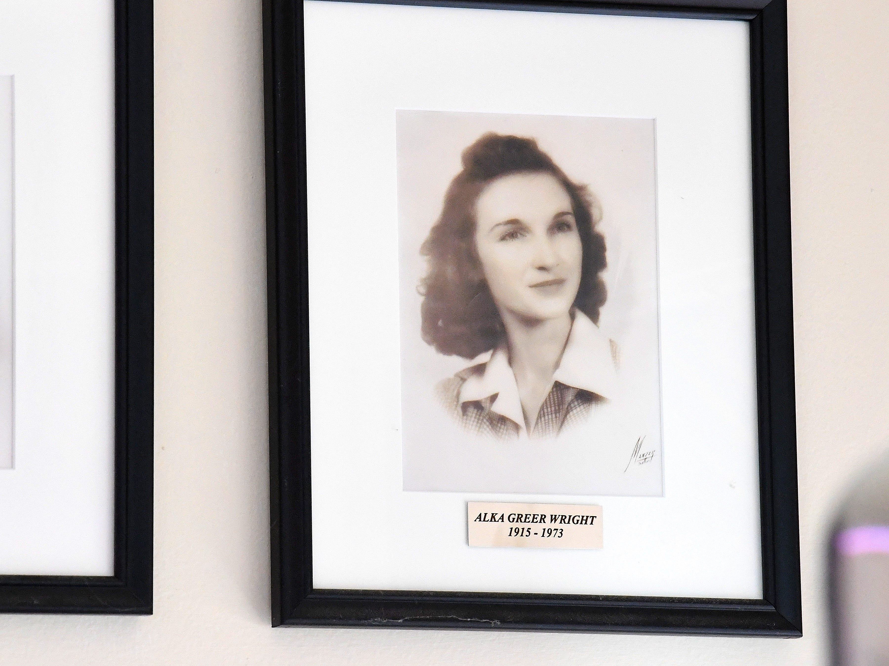A framed photo Alka Greer Wright hangs on the wall at Wright's Dairy-Rite in Staunton.