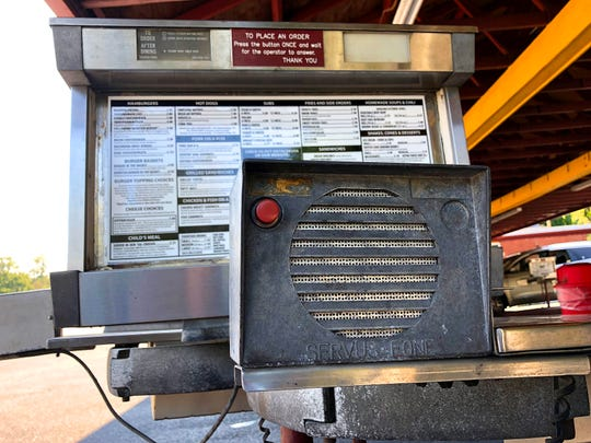 A call box used for curb-side ordering at  Wright's Dairy-Rite in Staunton.