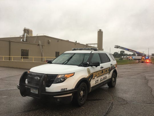 A St. Cloud Police vehicle is parked near the scene of a fire call at the WestRock manufacturing plant in St. Cloud on Thursday, Sept. 20.