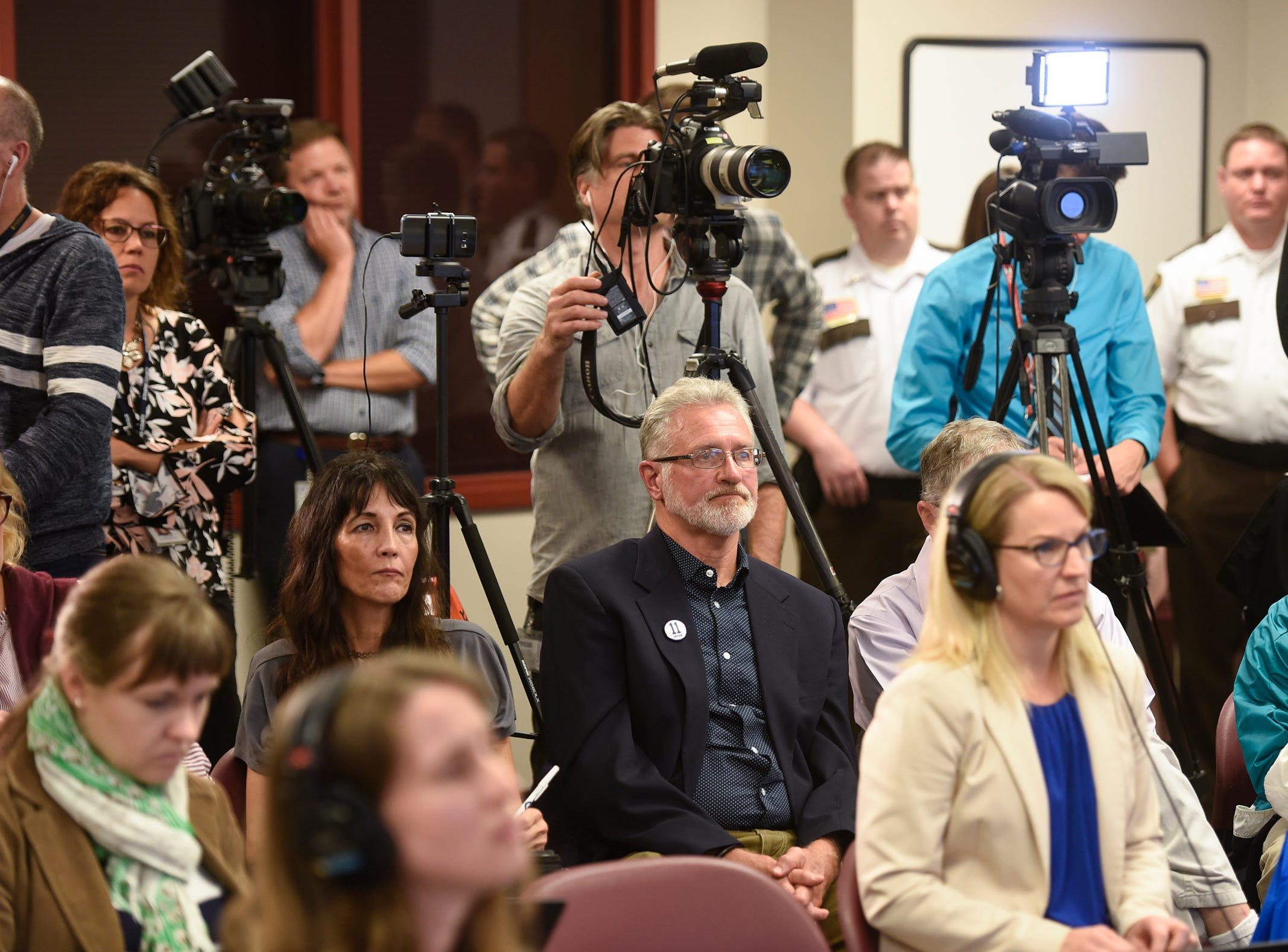 Jerry Wetterling watches during a press conference for the release of investigative files in case of his son, Jacob, Thursday, Sept. 20, 2018, in St. Cloud.