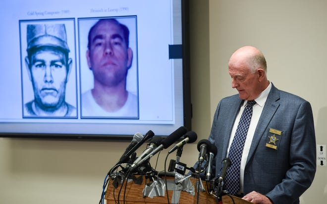 Stearns County Sheriff Don Gudmundson speaks as images of confessed killer Danny Heinrich are shown on a screen during a press release of the investigative files in the Jacob Wetterling case Thursday, Sept. 20, at the Stearns County Law Enforcement Center in St. Cloud.