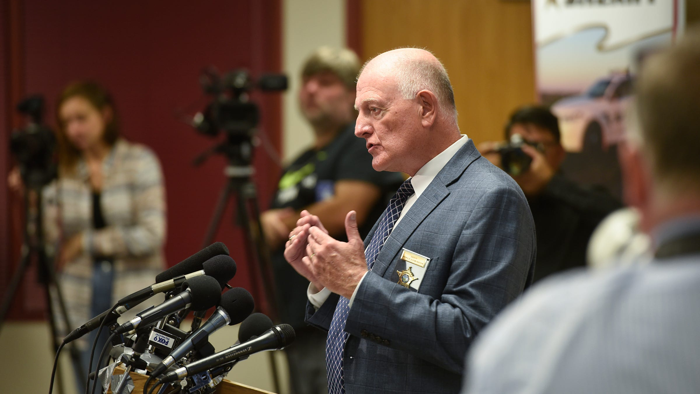 Stearns County Sheriff Don Gudmundson speaks during a press conference for the release of investigative files in the Jacob Wetterling case Thursday, Sept. 20, 2018, in St. Cloud.