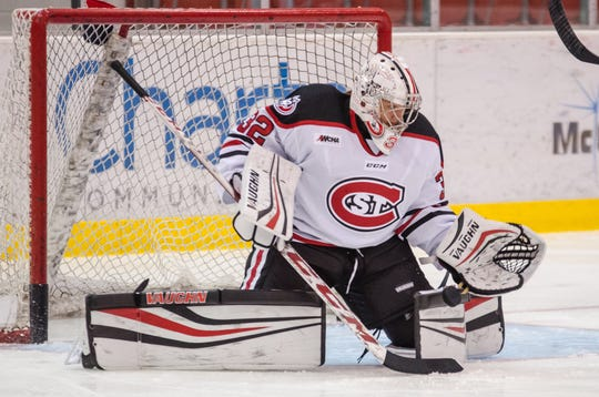 St. Cloud State's Emma Polusny makes a save last season at the Herb Brooks National Hockey Center. Polusny, a sophomore from Mound, recently returned from camp with the USA senior national team.