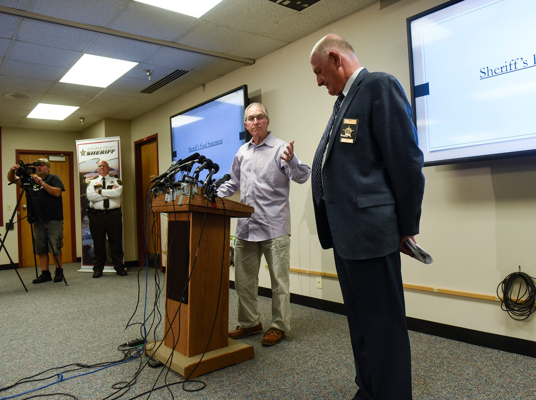 Former FBI Investigator Al Garber gives his views on statements by Stearns County Sheriff Don Gudmundson following a press conference Thursday, Sept. 20, at the Stearns County Law Enforcement Center in St. Cloud.