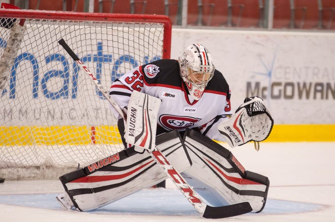 St. Cloud State senior goalie Emma Polusny is pictured in goal for the Huskies in 2018. SCSU will host Bemidji on Nov. 20-21 to open their 2020-21 season.
