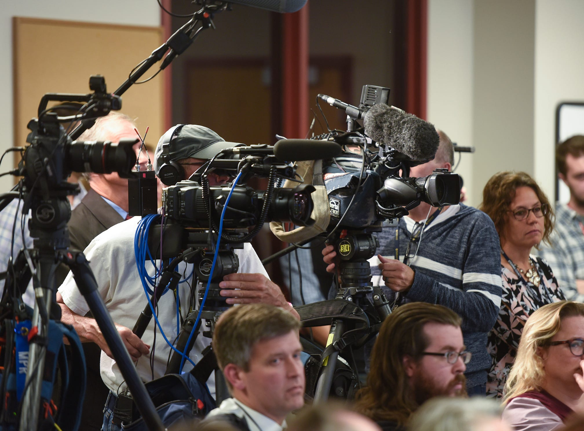 Cameras are pointed at the podium during a press conference for the release of investigative files in the Jacob Wetterling case Thursday, Sept. 20, 2018, in St. Cloud.