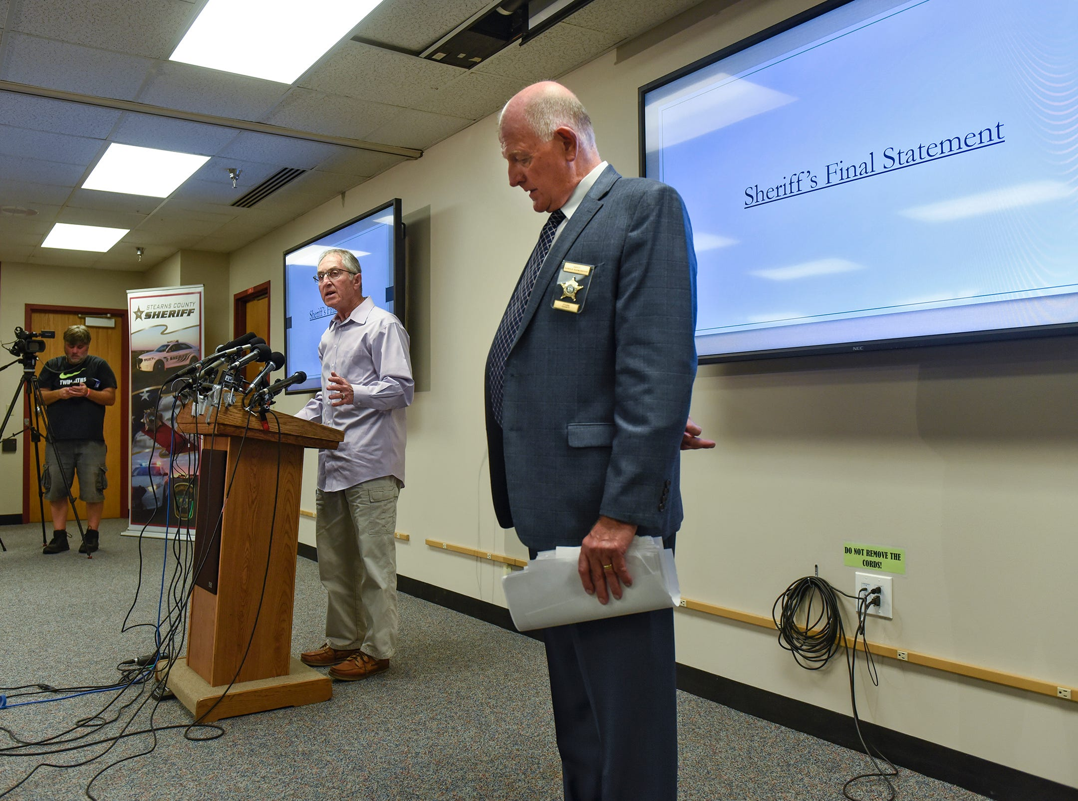 Stearns County Sheriff Don Gudmundson pauses as former FBI investigator Al Garber takes the podium following a press conference on the release of investigative files in the Jacob Wetterling case Thursday, Sept. 20, 2018, in St. Cloud.