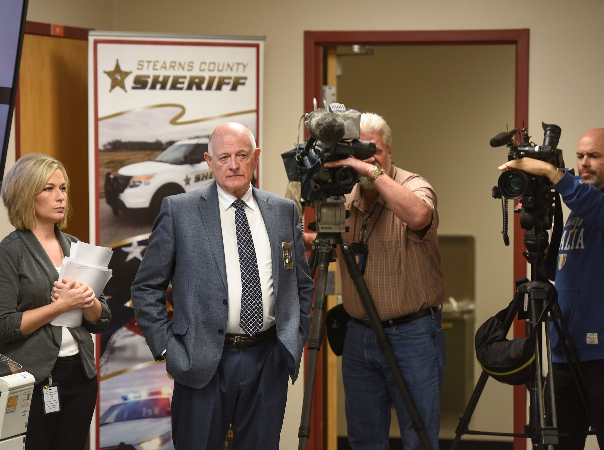 Stearns County Sheriff Don Gudmundson prepares to speak during a press conference for the release of investigative files in the Jacob Wetterling case Thursday, Sept. 20, 2018, in St. Cloud.