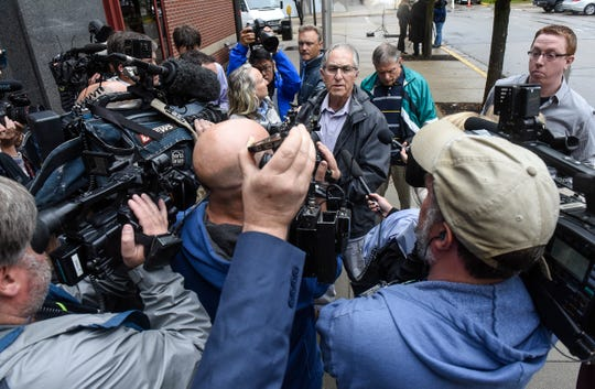 Former FBI investigator Al Garber speaks to the media following a press conference on the release of files in the Jacob Wetterling case Thursday, Sept. 20, in St. Cloud.