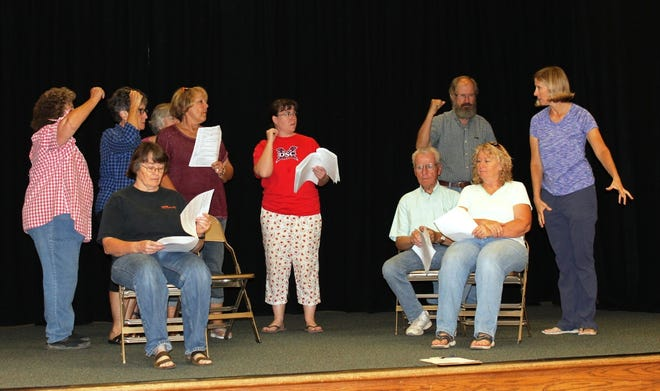 "Members of the LDS Veyo Ward rehearse ""Dottie Finds a Home,"" a play that will be performed Sept. 22, 2018."