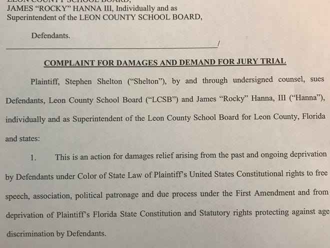 A lawsuit was filed in Leon County Circuit Court alleging a former Leon County Schools employee was fired for age discrimination and his support of the former superintendent.