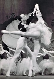 "Marina Brown shown dancing with  Jan Mickens in 'The Nutcracker"" with American Festival Ballet in Germany."