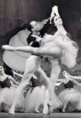 """Marina Brown shown dancing with  Jan Mickens in 'The Nutcracker"""" with American Festival Ballet in Germany."""