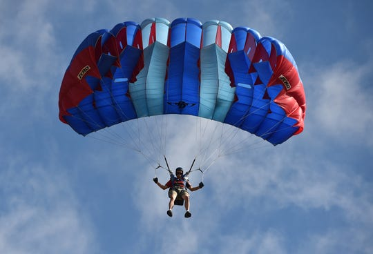 The United States Parachuting Association's National Parachuting Championships practice at Skydive Sebastian, 400 Airport Drive West, at the Sebastian Municipal Airport on Wednesday, Sept. 19, 2018. The competition features three different events, the accuracy tests, through Saturday Sept. 22nd, canopy formations Thursday 20th through Monday 24th, and the canopy piloting taking place the following Tuesday 25th through Friday 28th. The event is free to the public.
