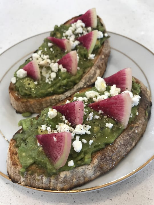 Avocado toast at Gilbert's Coffee Bar in Stuart also includes goat cheese, olive oil, sea salt and watermelon radishes.