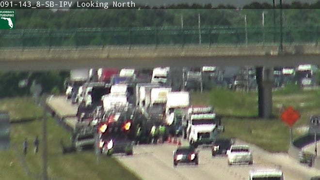 A vehicle fire had all southbound lanes blocked on Florida's Turnpike in St. Lucie County.