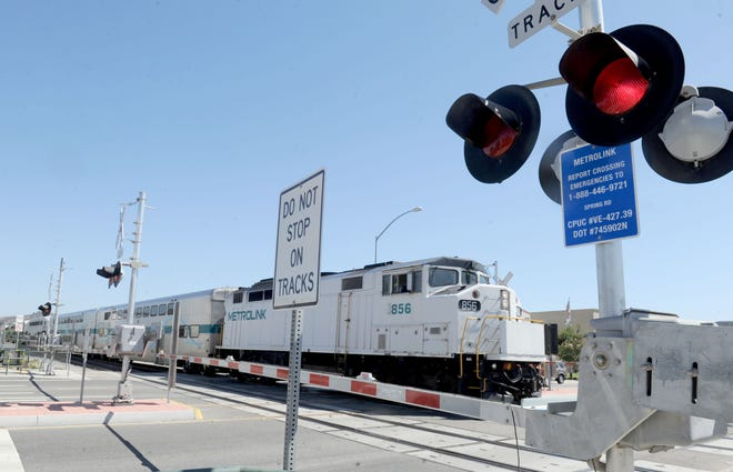 A Metrolink train makes its way through Spring Road and Princeton Avenue to the train station in Moorpark. Metrolink and the city of Moorpark just completed the installation of special controls at the Spring Road rail crossing, located just south of High Street and Princeton Avenue, that should help cut wait times for drivers.