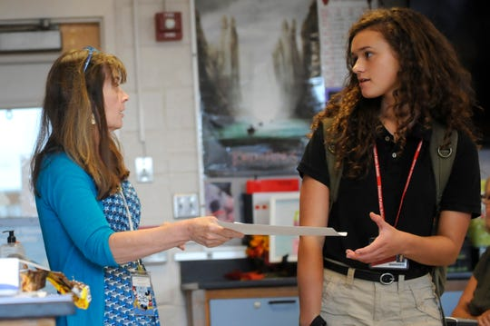 Vicki Yeager speaks to the Vineland High School Academic Team in her science classroom on Wednesday, September 19. Yeager has been recognized as the Cumberland County Teacher of the Year.