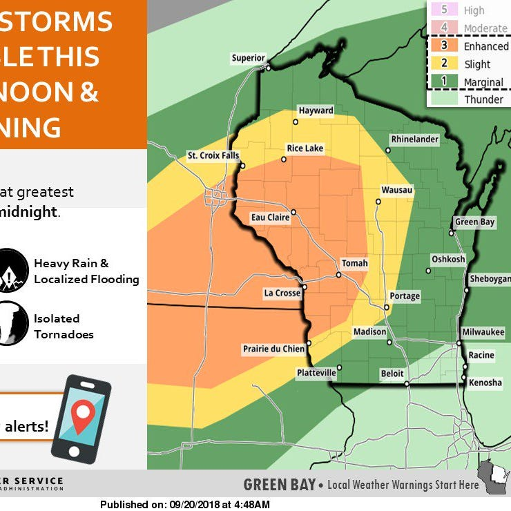 Potential severe weather to make its way back into Wisconsin Thursday afternoon