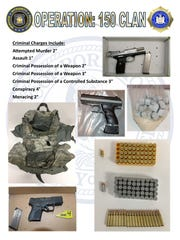 Investigators recovered two .45-caliber semi-automatic pistols, one .380-caliber semi-automatic pistol, a military-style bulletproof vest, dozens of rounds of ammunition and multiple decks of heroin, in addition to other evidence, police said.