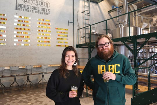 Industrial Arts Brewing Company general manager Sofia Barbaresco and founder Jeff O'Neil at the brewery in Garnerville, March 9, 2017.