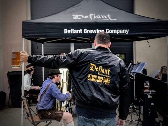 Could this be you? Defiant Brewing Company in Pearl River holds an annual Oktoberfest event with a beer stein holding contest.
