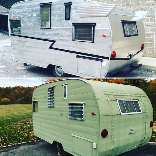 A 1959 Shasta trailer, before (bottom) and after it was restored by Suzanne Hasz.
