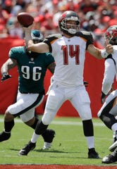 Tampa Bay Buccaneers quarterback Ryan Fitzpatrick (14) looks to pass, during the first half of an NFL football game against the Philadelphia Eagles, Sunday, Sept. 16, 2018, in Tampa, Fla. (AP Photo/Chris O'Meara)