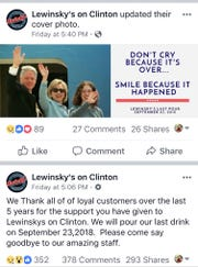Lewinsky's on Clinton announced the closing of the Delaware City eatery on its Facebook page.