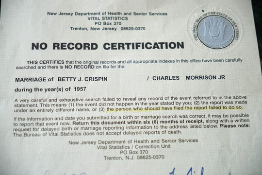 After Betty Jean Morrison tried to cash in a small pension she found out that no agency had a copy of her marriage certificate.