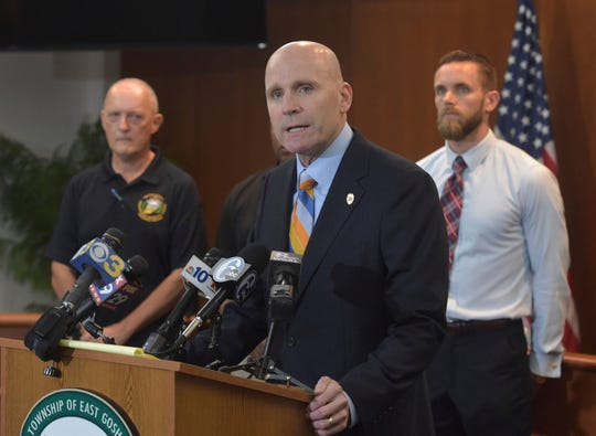 Chester County District Attorney Tom Hogan speaks about the shooting at Bellingham Retirement Community on East Boot Road in East Goshen Township, Pa., Wednesday, Sept. 19, 2018. The search has ended for a man who they say shot at his ex-wife and then killed his parents at the retirement center.