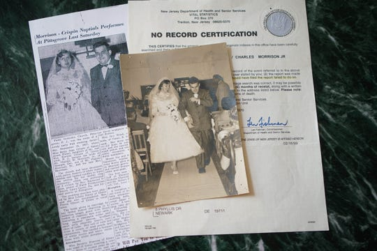 Memorabilia from Betty Jean and Charles Morrison 1957 wedding with a letter from New Jersey, saying there is no marriage certificate.