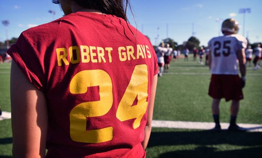 Special t-shirts were printed for the observance of the one-year anniversary of Robert Grays' death. The Midwestern State University football player died a few days after being seriously  injured on the football field.