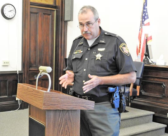 Sheriff Tim Rogers speaks about Issue 1 at a press conference on the proposed amendment in Coshocton County Common Pleas Court.