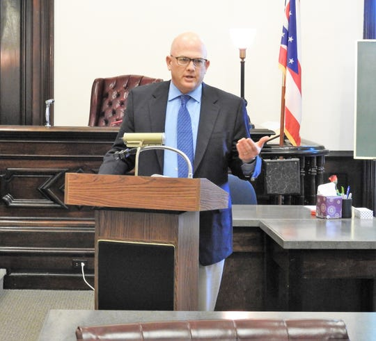 Judge Robert Batchelor speaks about Issue 1 at a press conference on the proposed amendment in Coshocton County Common Pleas Court.