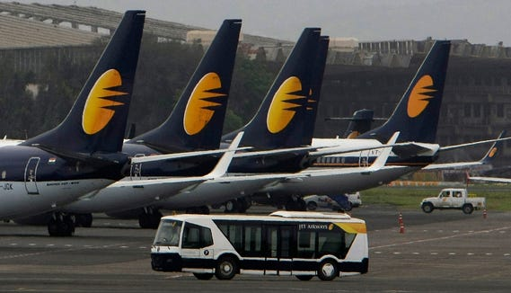 This file photo from Sept. 9, 2009, shows  Jet Airways aircraft on the tarmac at the  domestic airport terminal in Mumbai, India.
