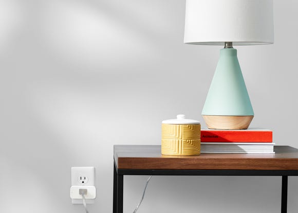 A lamp plugged into Amazon's Smart Plug.