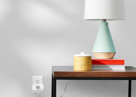 A lamp plugged into Amazon's Smart Plug.