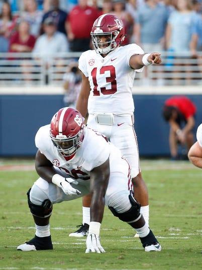 Alabama quarterback Tua Tagovailoa stands behind his center during his team's game against Mississippi.