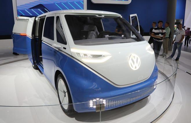 A Volkswagen ID Buzz concept van.