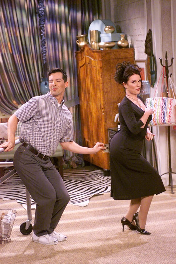 Will and Grace had two eccentric friends: Jack McFarland and Karen Walker. Jack (Sean Hayes) met Will in college and became close friends with Karen (Megan Mullally), Grace's subpar assistant with important socialite connections.