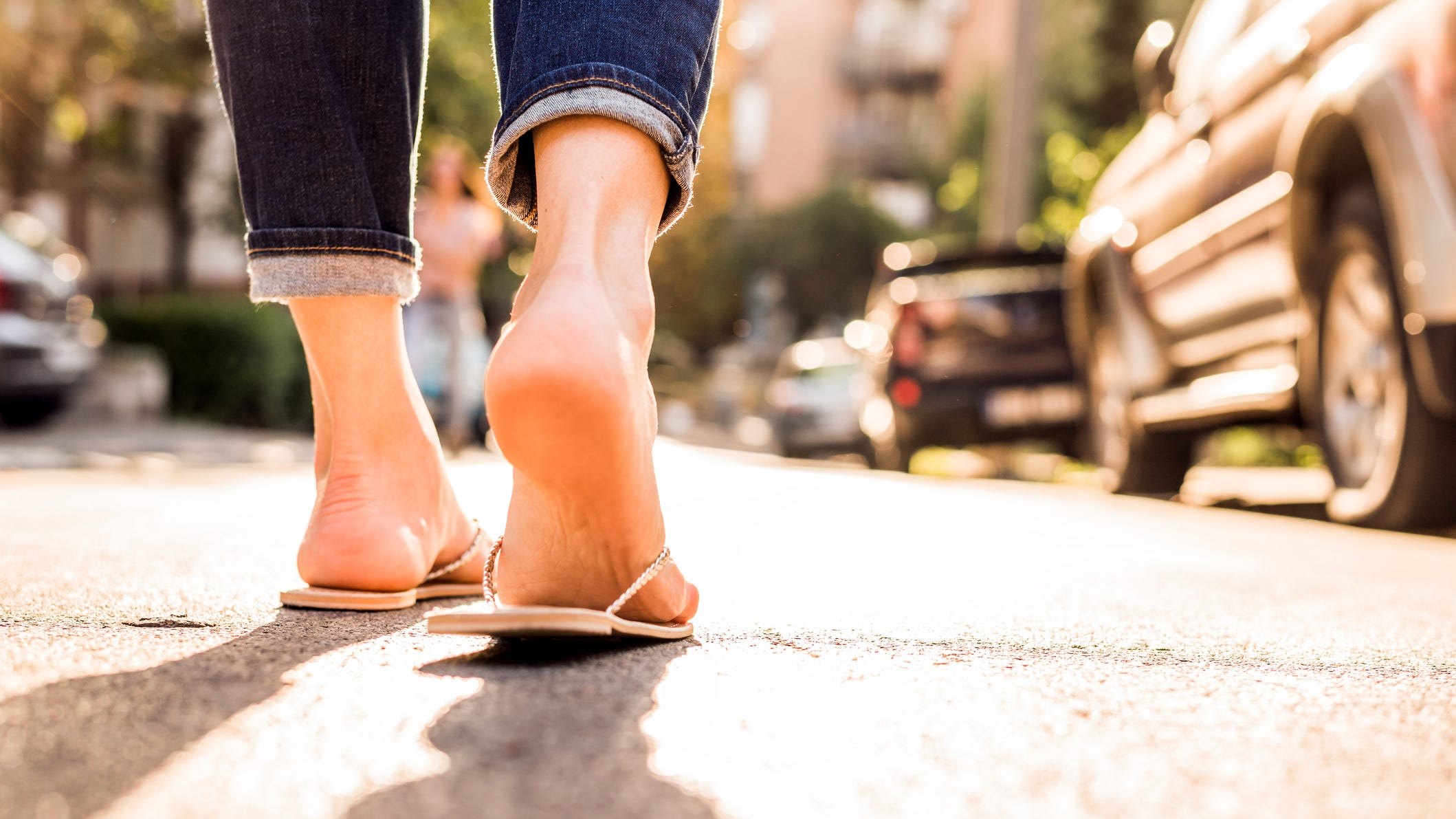 For safety's sake, don't wear flip-flops walking around unfamiliar city streets.