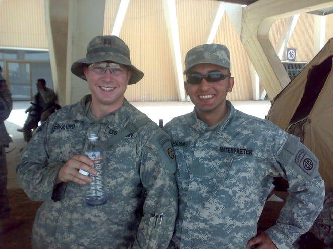Iraqi interpreter Bassam Hashem, right, and U.S. Army Capt. Brian Englund in 2009.