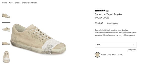 The Golden Goose Superstar Taped Sneaker is sold on nordstrom.com.