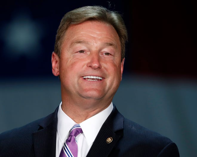 Sen. Dean Heller, R-Nev., is pictured speaking during a visit by Vice President Mike Pence at Nellis Air Force Base in Las Vegas.