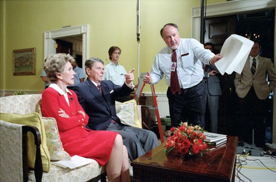 President Reagan and Nancy Reagan during a rehearsal for a national address on the war on drugs, with Roger Ailes.