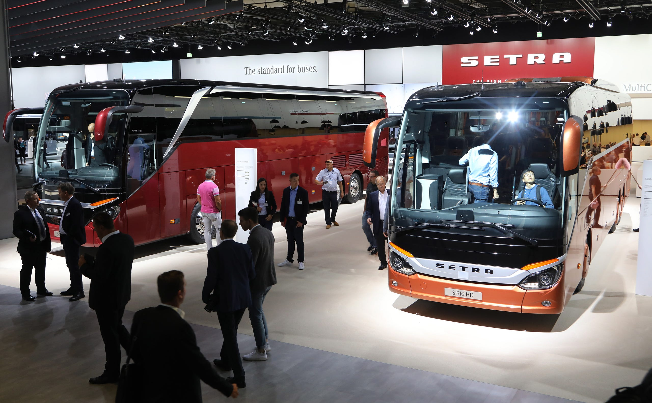 a49d1ecccb Buses at the Setra booth.