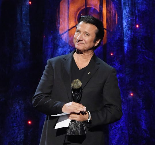 Steve Perry of Journey speaks onstage at the Rock & Roll Hall Of Fame Induction Ceremony on April 7, 2017, in New York City.